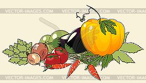 Haufen von Gemüse - Vektor-Illustration