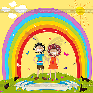 Regenbogen und Kinder - vektorisiertes Clip-Art