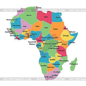 Editierbare Landkarte von Afrika - Clipart