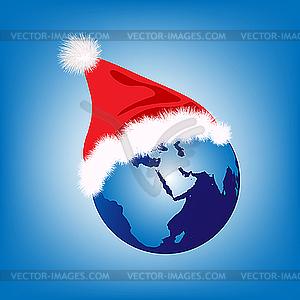Erdkugel mit dem Hut von Weihnachtsmann - Vector-Clipart EPS