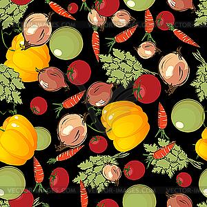 Gemüse-Muster auf Schwarz - Vektor-Abbildung