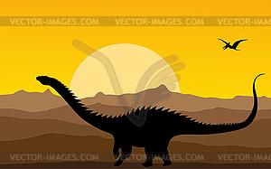 Hintergrund mit Dinosaurieren - Klipart