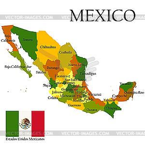 Landkarte von Mexiko mit FLagge - farbige Vektorgrafik