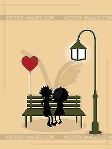 Valentinstag Postkarte - Vector-Illustration