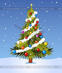Geschmückter Weihnachtsbaum - farbige Vektorgrafik