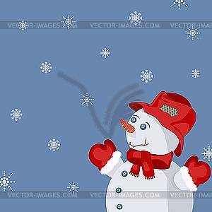 Neujahrskarte mit Schneemann - vektorisiertes Clipart