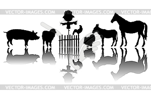 Farm animals silhouettes - vector clip art