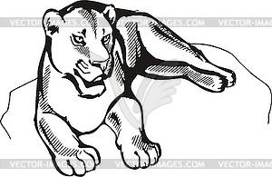 Liegend Löwin - vektorisierte Abbildung