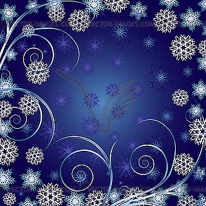 Weihnachts-Hintergrund mit Flocken und Schneeflocken - Stock-Clipart