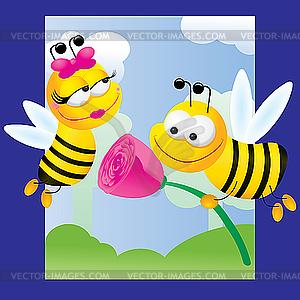 Biene in Liebe - farbige Vektorgrafik