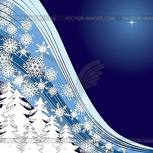 Blue Christmas card mit firtrees and snowflakes - vector clipart / vector image