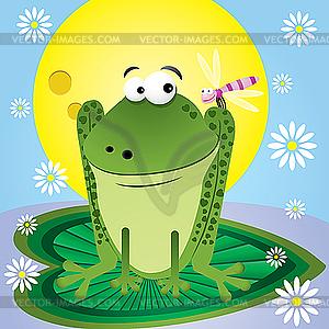 Frosch und Libelle - Vektor Clip Art