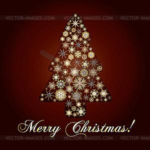 Weinachtskarte mit goldenem Tannenbaum - Vector-Clipart / Vektorgrafik