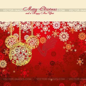 Rote Weihnachtskarte mit Kugeln - Vektorabbildung