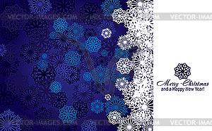 Blaue Weihnachtskarte mit Schneeflocken - Stock Vektor-Clipart