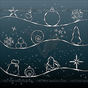 Graue Weihnachtskarte - Royalty-Free Vektor-Clipart