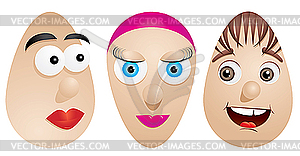 Eier mit Gesichtern - vektorisierte Abbildung