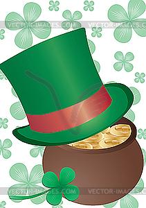 Goldtopf und grüner Hut - Vektor-Bild