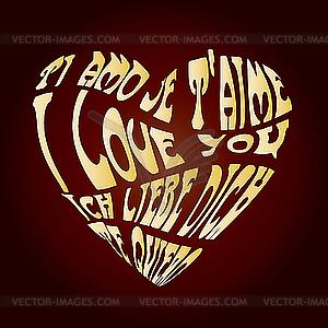Herz - Ich liebe dich - farbige Vektorgrafik