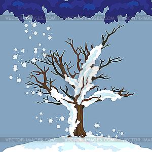 Einsamer Winter-Baum - Vektor-Bild