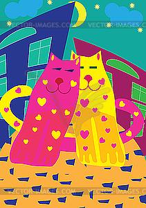 Katzen in Liebe  - Vector-Design