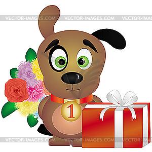 Welpe mit Geschenken - Vector-Clipart