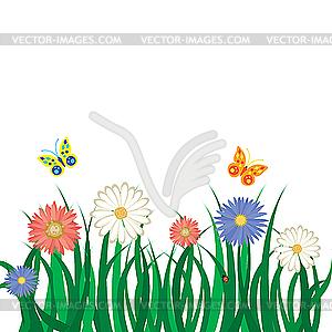 Blumen und Schmetterlingen - Klipart