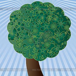 Grüner Frühling-Baum und Himmel - Vektor-Abbildung