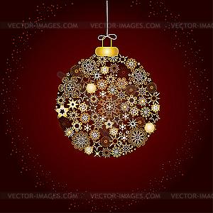 Weihnachtsdekoration, Kugel aus goldenen Schneeflocken - Vektor-Clipart