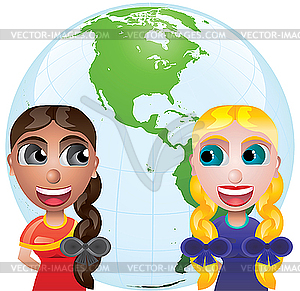 Freunde-Mädchen und Weltkarte - Clipart