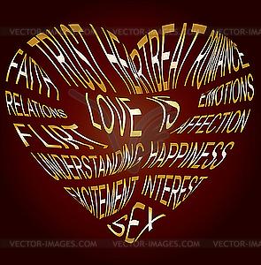 Gold-Text über Liebe - Vektor Clip Art