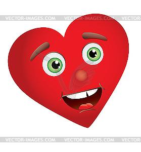 Heart with face vector clip art