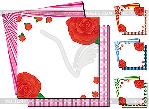 Quadratische Rahmen mit Rosen - Royalty-Free Clipart