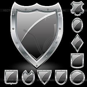 Schwarze Schilde-Icons - Vektor-Abbildung