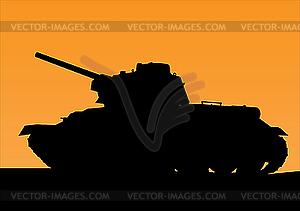 Tank-Silhouette am Sonnenuntergang - Vektor-Abbildung