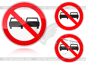 Überholung verboten - Verkehrsschild - Vector-Clipart
