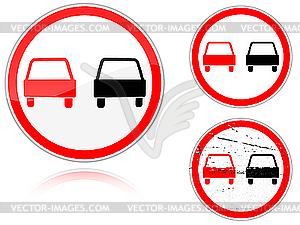 Überholung verboten - Verkehrsschild - Vector-Design
