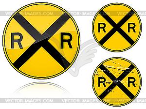 Bahnübergang-Warnung - Verkehrszeichen - Vector-Clipart / Vektor-Bild