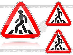 Unregulierter Fußgängerüberweg - Verkehrszeichen  - Vector-Design