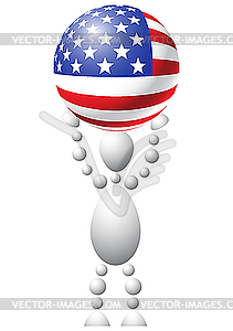 Mann mit Ball als US-Flagge - Stock-Clipart