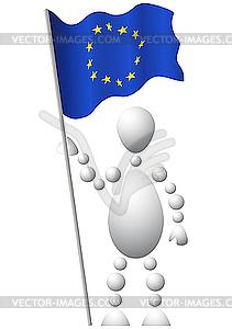 Mann mit Flagge Europas - Vektor-Bild