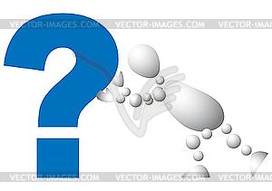 Man schiebt ein blaues Fragezeichen - Vector-Clipart / Vektor-Bild