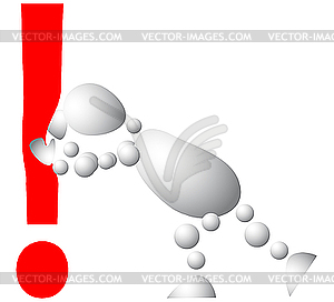 Man drückt ein rotes Ausrufezeichen - Vector Clip Art