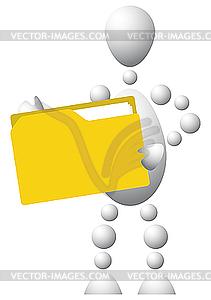 Mann mit gelbem Ordner - Vector-Clipart / Vektor-Bild