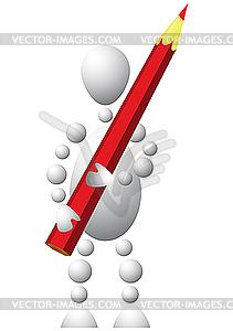 Mann mit rotem Bleistift - Vektor-Bild
