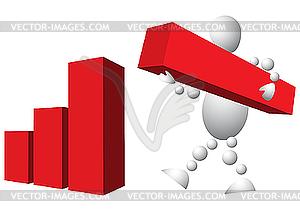 Man baut Diagramm aus roten Blöcke - Stock-Clipart