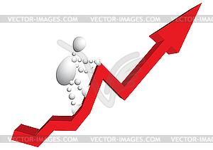 Man steigt auf rotem Pfeil-Grafik - Vector-Design