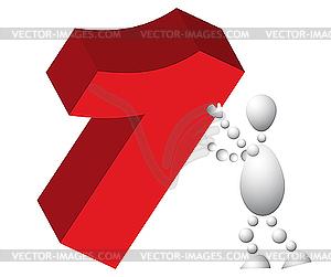 Man wirft ein rotes Symbol Eins - farbige Vektorgrafik