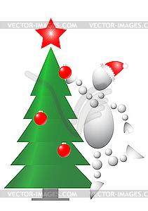 Man schmückt Weihnachtsbaum - farbige Vektorgrafik