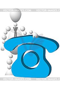 Mann mit blauem Telefon - vektorisiertes Clipart